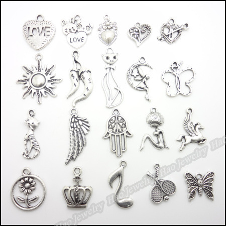20 pattern Mixed 100pcs Assorted Retro hollow charm Pendant Metal Alloy Antique silver Pendants Diy Jewelry Accessories(China (Mainland))