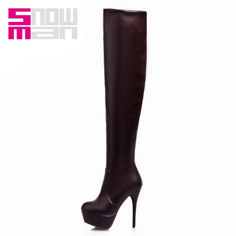 2015 Sexy Slim Long Boots Women Over the Knee Boots for Lady's Thin High Heels Platform Red Bottom Shoes Woman Winter Boots