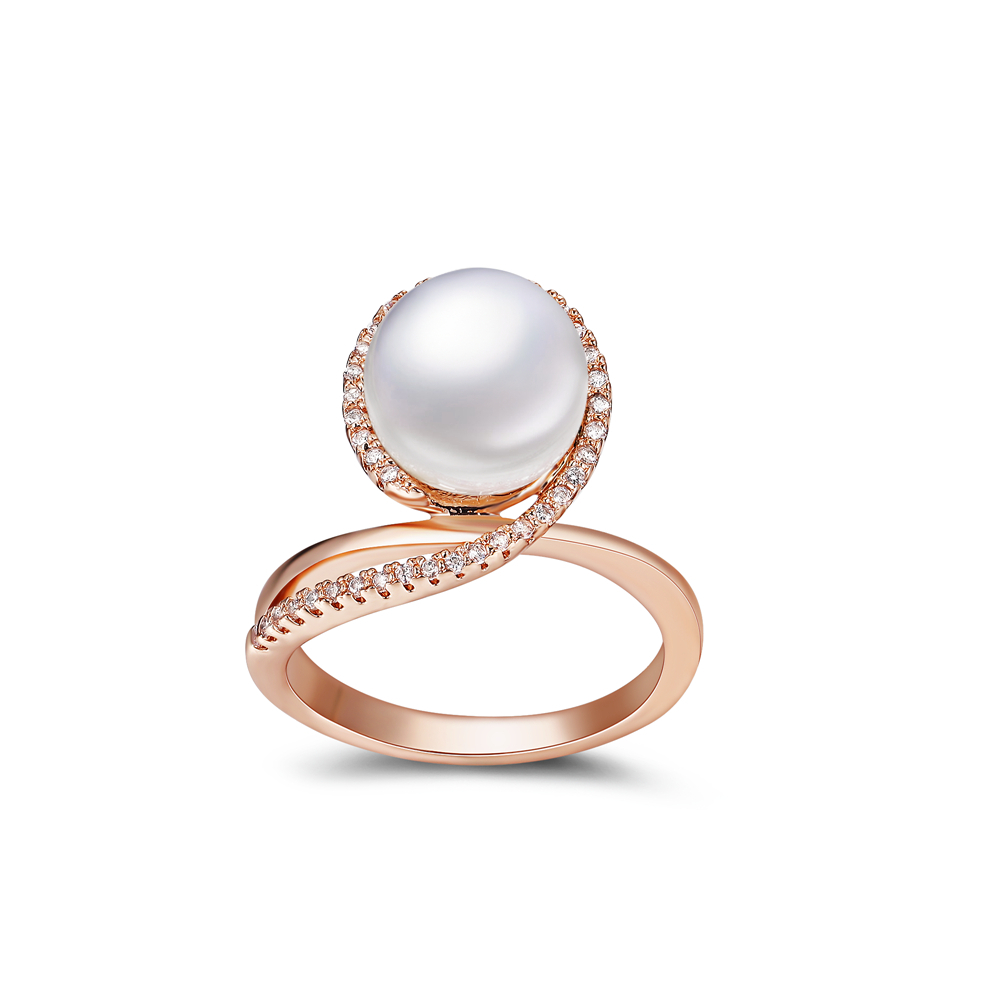 Free Shipping 2015 Top Fashion CZ Crystal Micro Pave One Big White Pearl Cocktail Rings for Women(China (Mainland))