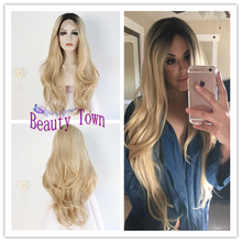 Synthetic Lace Front wig Heat resistant fiber Black root ombre blonde two tone perruque women natural wave Front lace party wig(China (Mainland))