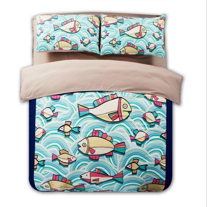 Popular ocean blue comforter buy cheap ocean blue for Fish bedding twin