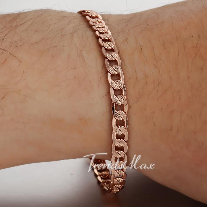 5mm 20 3cm Cut Hammered Flat Curb Mens Boys Chain Bracelet 18K Rose Gold Filled Bracelet
