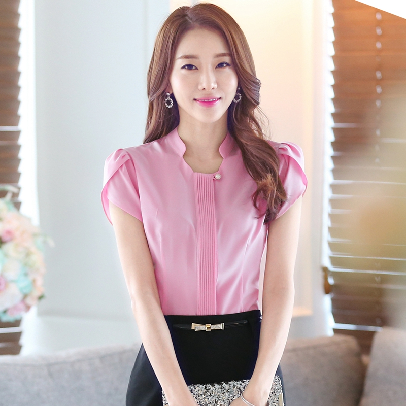 2016 Women New Petal Sleeve Stand Collar Pleated Front Shirt Ladies Casual Sweet Shirt Blouse Tops(China (Mainland))