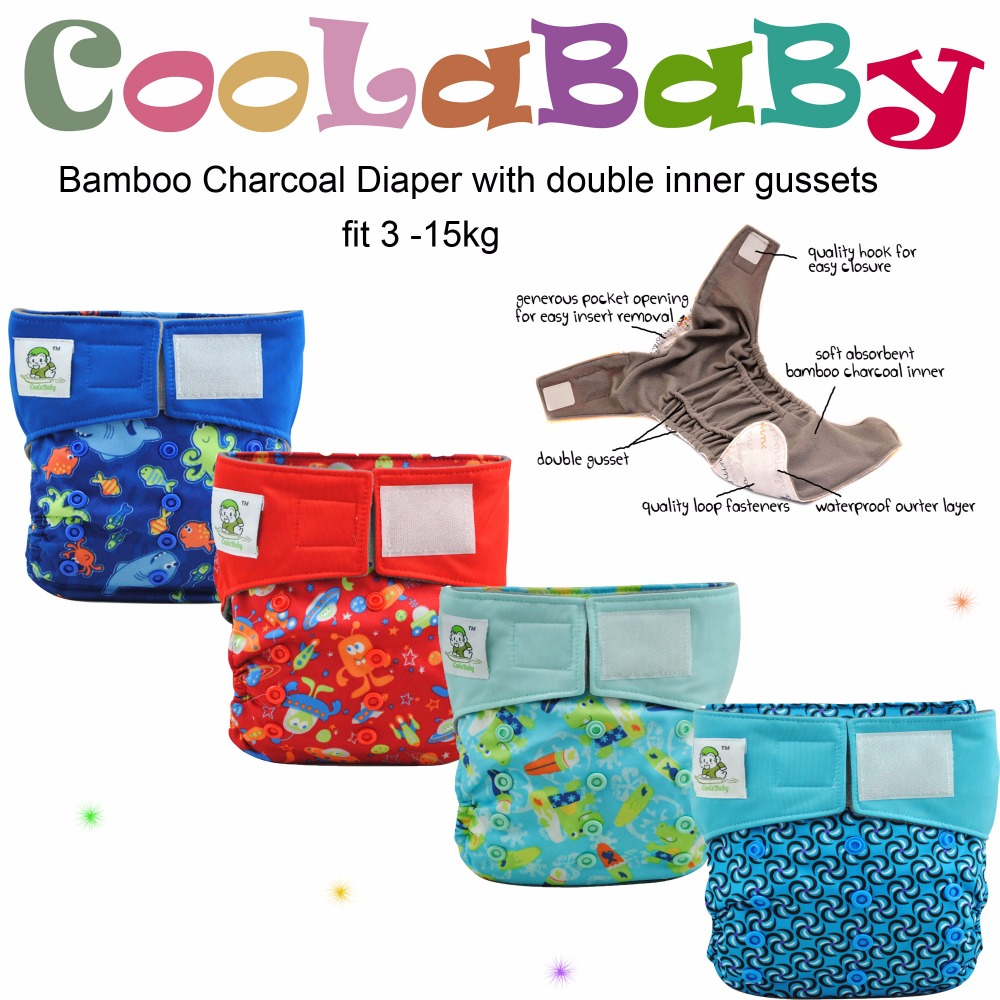8 Coolababy Reusable Diapers of Bamboo charcoal Washable Cloth Diaper Nappies + 8 insert Free shipping(China (Mainland))