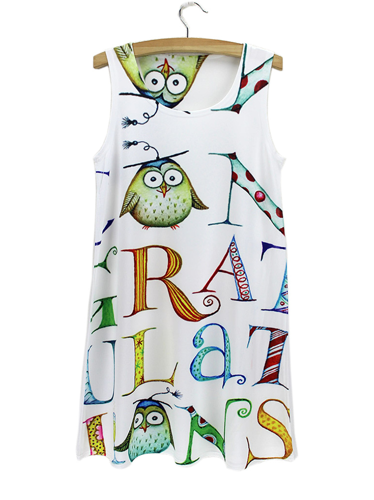capital english letters summer dress owls doctor white ...