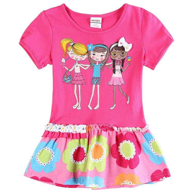 girl clothes 2016 kids dress baby summer style nova brand print flora girls cotton dresses