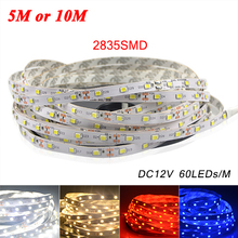5M or 10M /Pack 2835 SMD More Brighter Than 3528 5050 SMD LED Strip light DC 12V 60LEDs/M Indoor Decorative Tape White Blue Red(China (Mainland))
