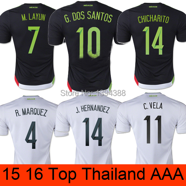 Thai AAA Chicharito 2015 Mexico soccer jersey G DOS SANTOS Mexico jersey 15 16 J HERNANDEZ Mexico football soccer shirt camiseta(China (Mainland))