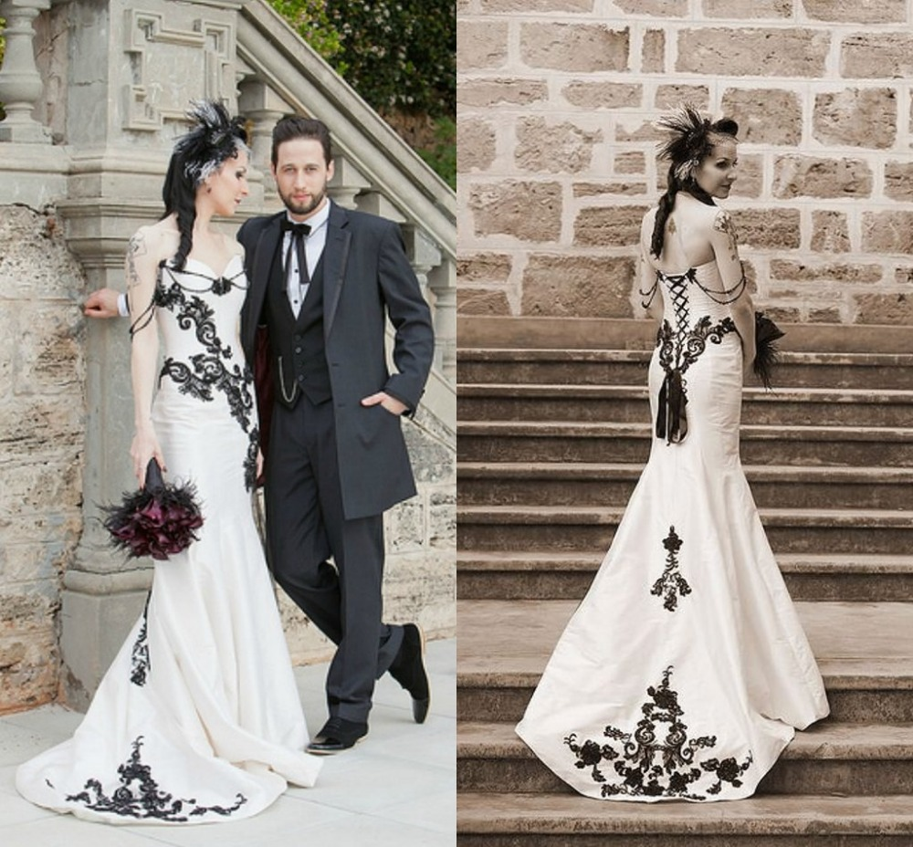 Black And White Mermaid Wedding Gowns : White and black lace gothic wedding dress vestidos de novia