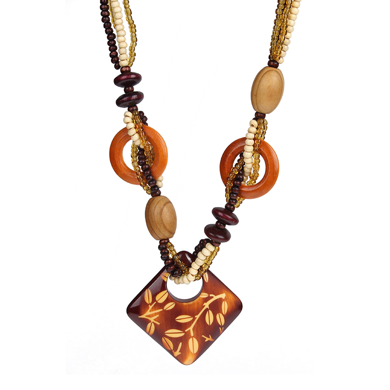New Style Boho Ethnic Long Hand Made Wooden Beads Heart Pendant Necklace For Women or Men(China (Mainland))