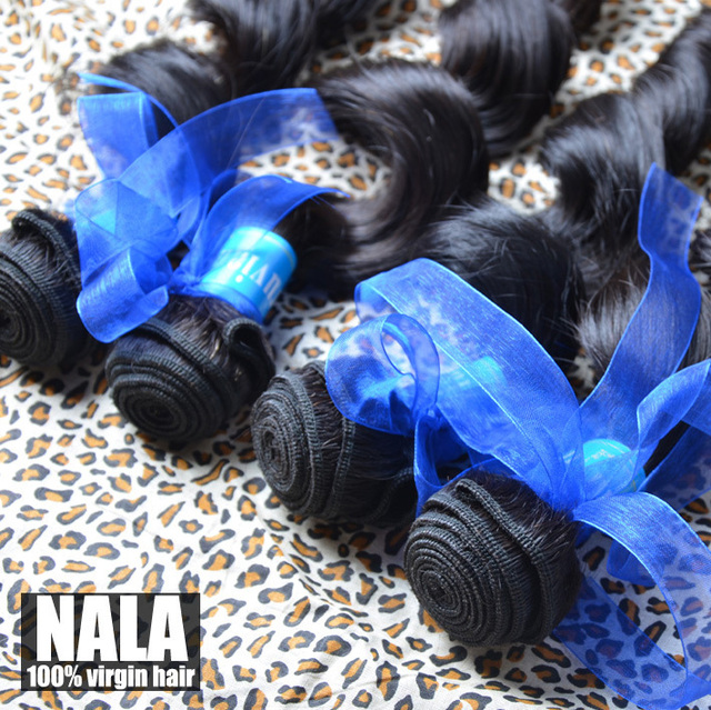 Nala hair products Peruvian virgin hair loose wave 4pcs lot,Grade 5A,100% unprocessed human hair,no tangle,no shedding