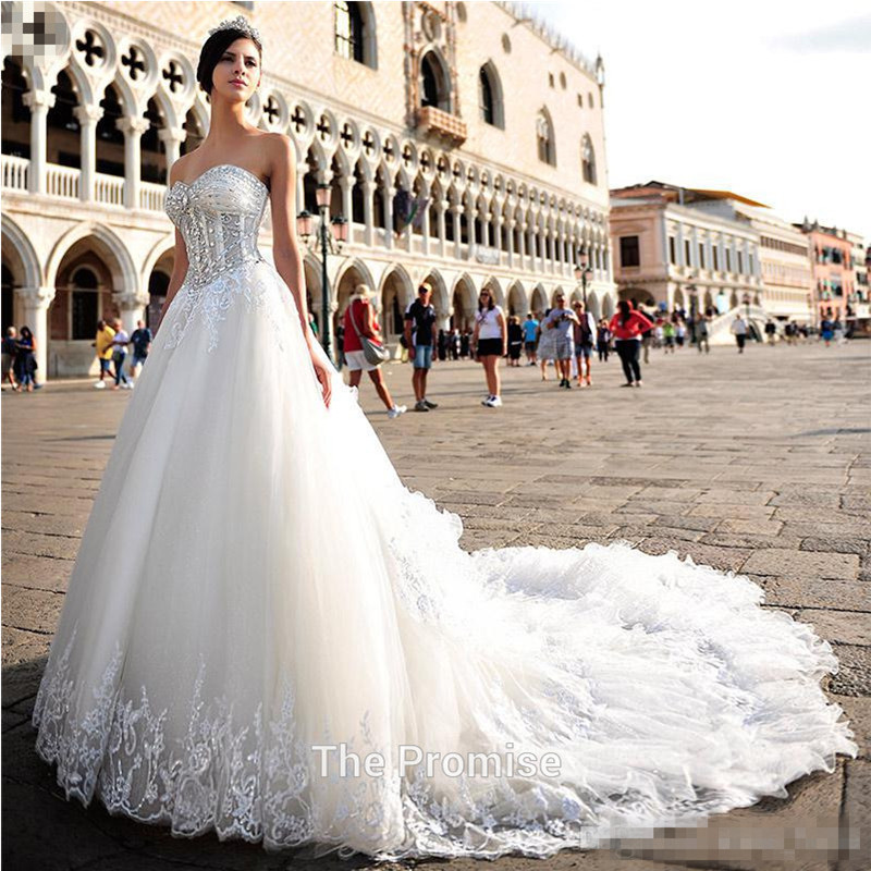Free shipping 2015 sexy plus size royal train organza for White wedding dresses with long trains