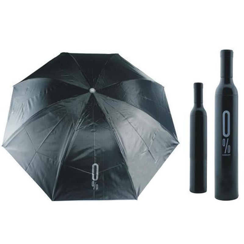 Portable Creative Fashion Three Folding Wine Bottle 1Pcs Chemical fabric sunny and rainy Umbrella Black(China (Mainland))
