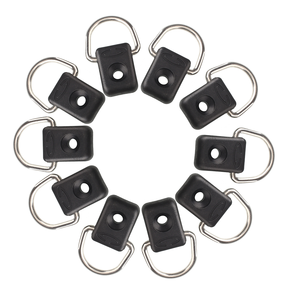 Brand New 10pcs Steel Canoe Kayak D Ring Outfitting Rigging Bungee Accessory Boating Watersports Free Shipping(China (Mainland))