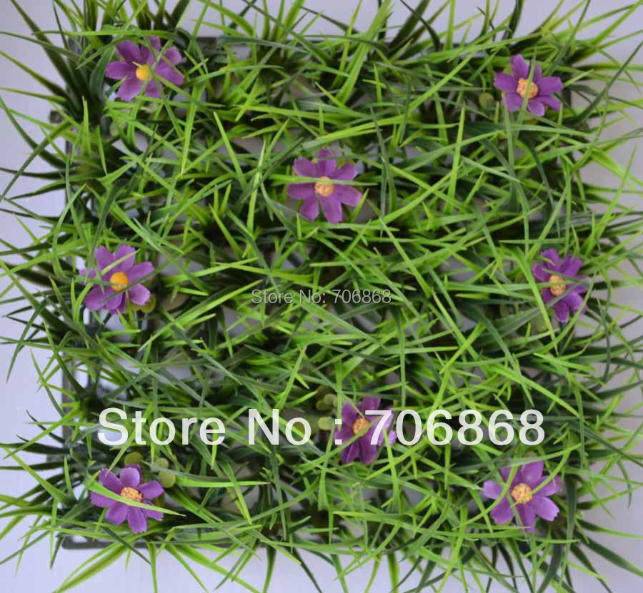 40 pieces artificial long grass mat boxwood mat with silk rose flowers of different colors 22(China (Mainland))