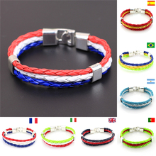 High Quality Handmade World Cup Brazil National Flags Style Sport Football Team Fan Collection Cheer Power Cuff Leather Bracelet(China (Mainland))