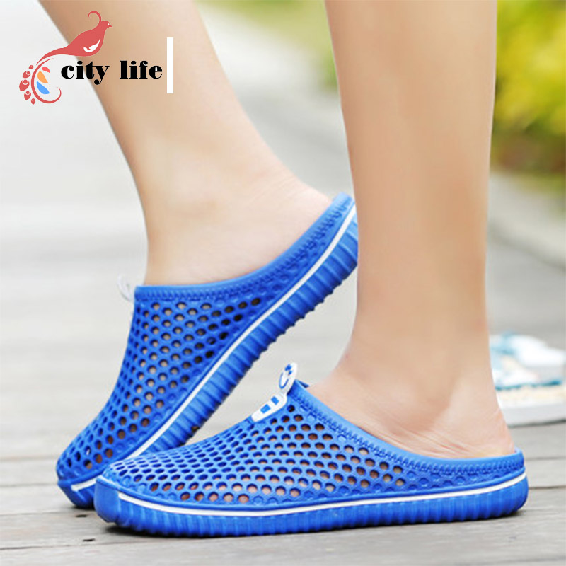 Plus Size 36-45 Homem Mulher Sapatos Buraco Tamancos Jardim 2016 Novo Macho Verão Net Flats Praia Sandálias Mulas chinelos(China (Mainland))