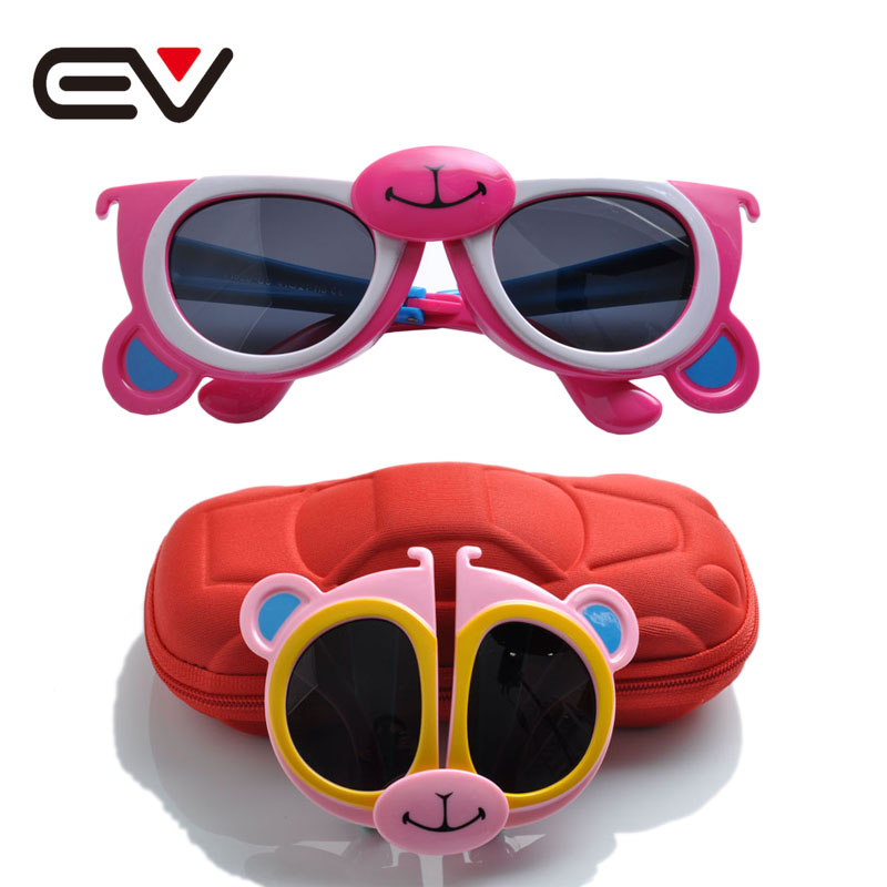 2016 Kids Monkey Shaped Folding Sunglasses Baby Children Toddler Boys Girls Cute UV Protection Polarized Sun Glasses EV1230