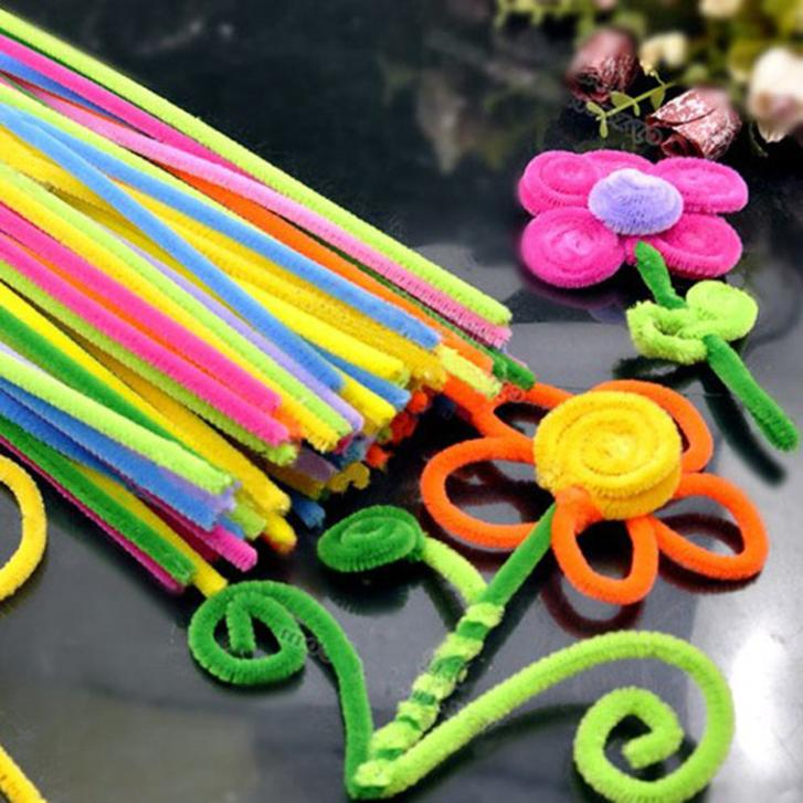 Magical 100 Pcs Plush Sticks Children's Educational DIY Materials Shilly-Stick Toys Handmade Art And Craft(China (Mainland))