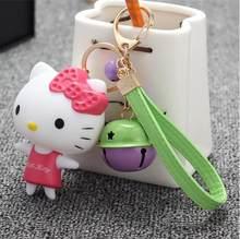 Anime dos desenhos animados Olá Kitty Rosa Gato pele Real pompom pom pom Keychain Chave titular Cadeia anel Mulheres Meninas saco de jóias pingente charme(China)
