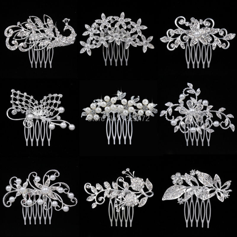 New Arrival Animal Leaf Flower Designs Sparkling Crystal Imitation Pearls Bridal Hair Combs Tiara Women Wedding Accesories(China (Mainland))