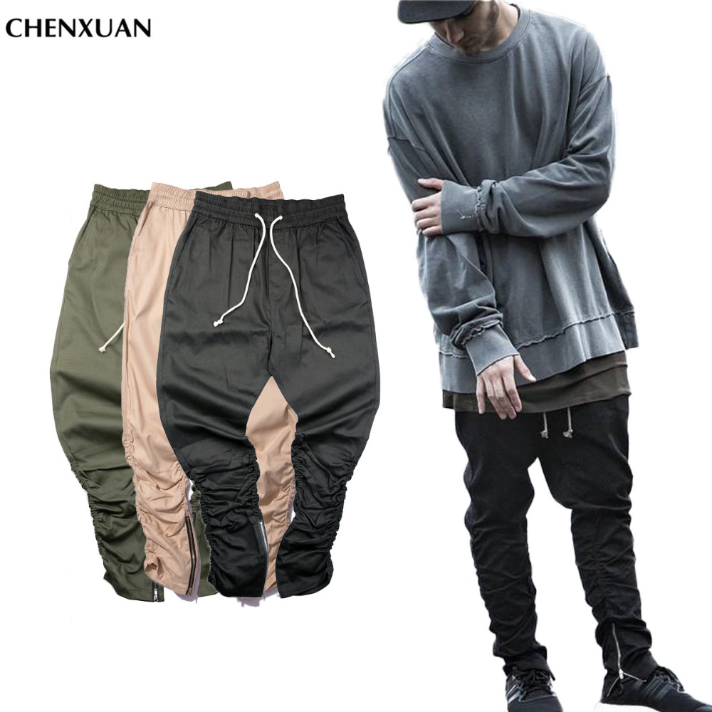 CHENXUAN Justin bieber brand side zipper men slim fit casual mens hip hop jogger biker pants swag sweatpants skinny trousers(China (Mainland))