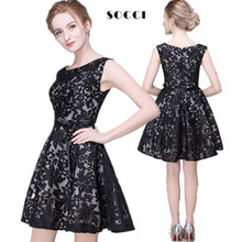 Custom made New girls Black Lace short cocktail dresses for juniors 2016 Short Prom Dress Formal Wedding Party Gowns Plus size(China (Mainland))