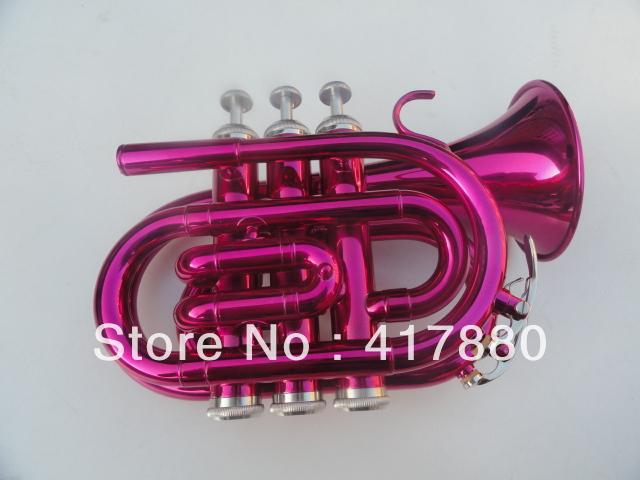 Rose Red Falling Bb Pocket Trumpet Trompete Major Boquilla Para Trompeta Pink Angle Surface Tuba With Case(China (Mainland))