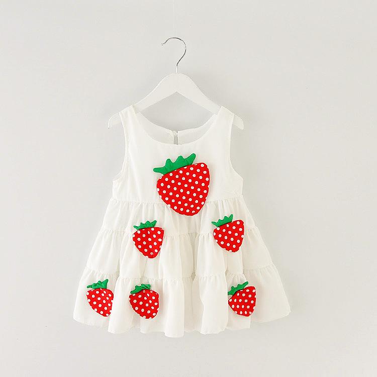 4-10Y Brand Sleeveless Girls chiffon Dresses New Designer 2015 summer strawberry childrens clothing baby girl princess sundress(China (Mainland))