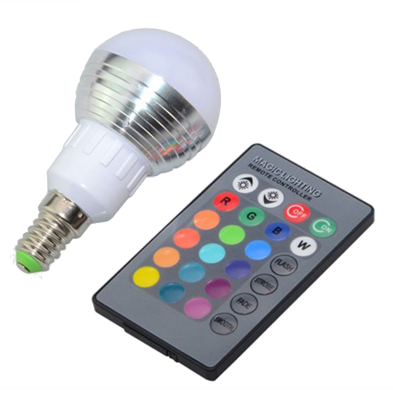 100pcs/lot E27 E14 3W magic color change RGB LED Bulb light Dimmable decoration lamp with IR Remote Control spot light AC85-265V(China (Mainland))