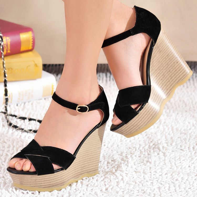 Wedges high heels open toe platform genuine leather strap sandals green women's shoes - CN-Imperssion store