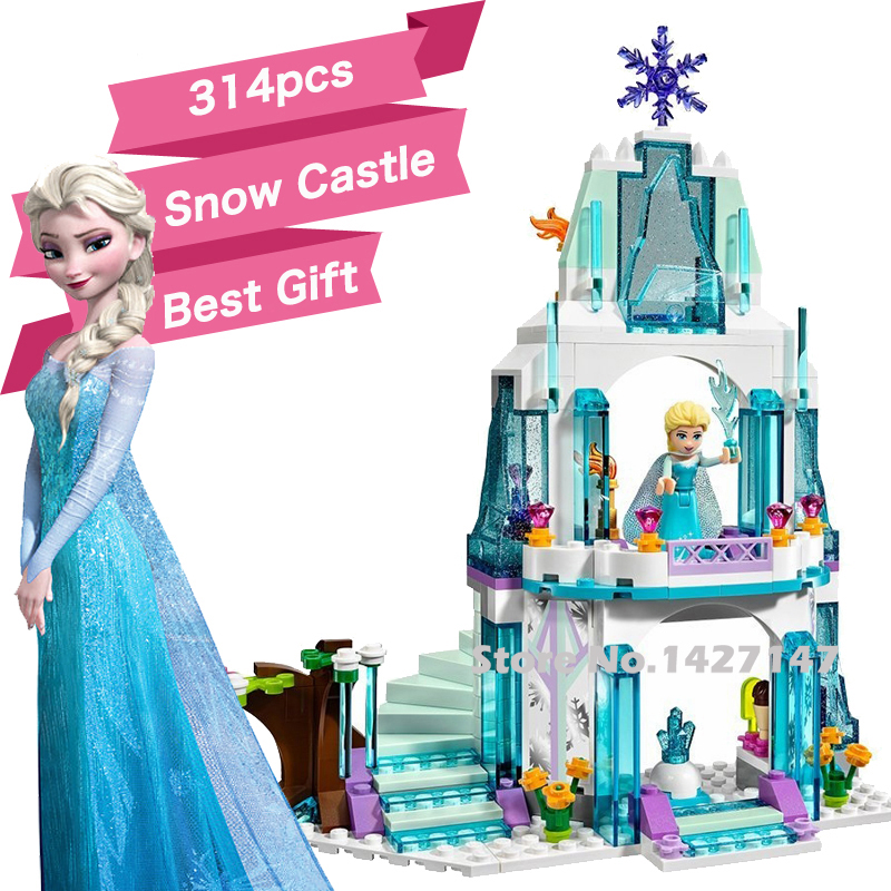 Compatible Lepin 314pcs Princess Queen Elsa Anna Olaf snow Castle Friend building Block sets self-locking girls bricks best gift(China (Mainland))