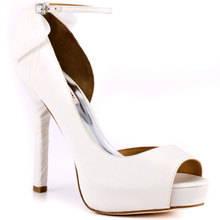 White Ankle Straps Beads Peep Toe Thin Heels Women Sexy Shoes Women Pumps Wedding Shoes High Heels Made-to-order(China (Mainland))