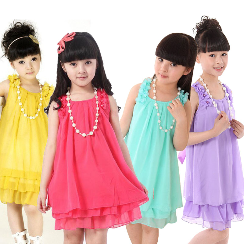 2016 Summer Girls dresses pink chiffon dress fashion sleeveless pearles costumes cute ruffless vestidos for 3-14 years old(China (Mainland))