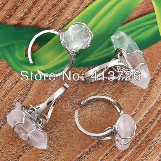 UMY Trendy Silver Plated Adjustable Wire Winding Rock Crystal Irregular Shape Ring Fashion Jewelry(China (Mainland))
