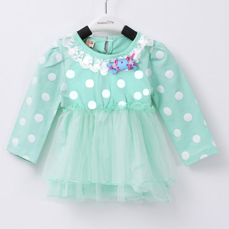 Cotton Candy Girls Dresses 2015 Sweet Dot Infant Princess Dress Ball Gown Mesh Vestidos Infantis Soft Cotton Candy Girls Dresses(China (Mainland))