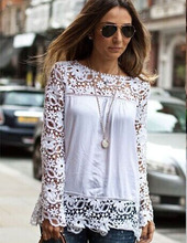 2015 Remarkable XS-5XL Blouse 1PC Women Blouses Sheer Sleeve Embroidery Lace Crochet Tee Chiffon Shirt Blouse Cool Blusas New