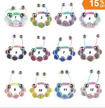 Free Shipping 10psc/lot Kids Baby Child Shamballa Bracelet Children Disco Ball Clay Beads Fashion Jewelry Mixed Color Wholesale(China (Mainland))