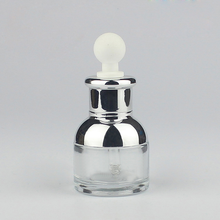 30ml transparent glass dropper bottle silver shoulder collar ,big white bulb - packing world -cosmetic and medicine store