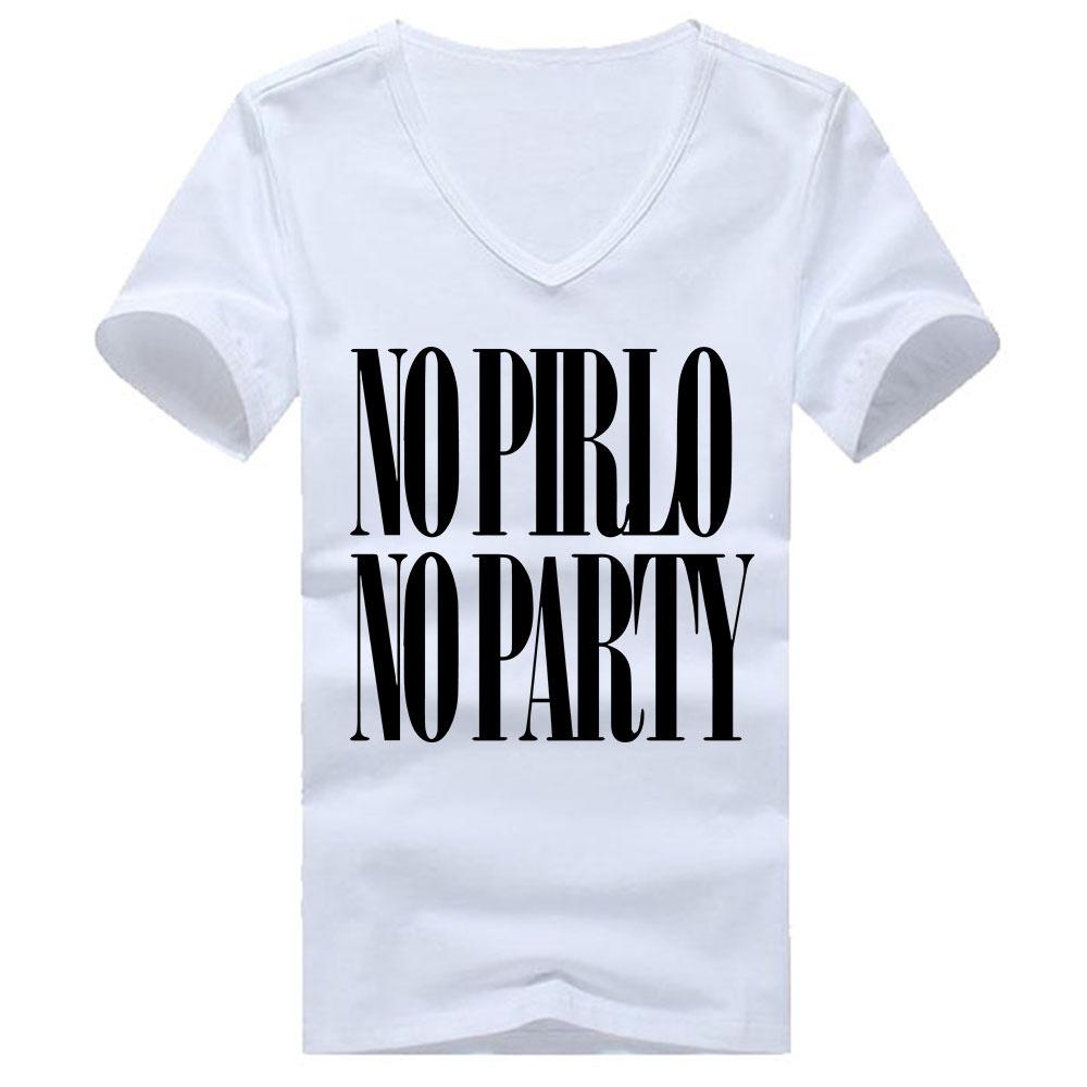 Pirlo No Party Andrea Juventus Letters Print T Shirts Men Cotton V Neck Man T-Shirt Short Sleeve Mens tshirt Free Shipping Tops(China (Mainland))