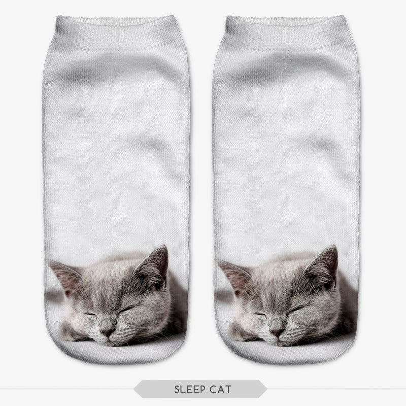 3D Sock Print Lovely Cat Time limited Ruched Polyester Contrast Color Meias Women Socks Casual Cute