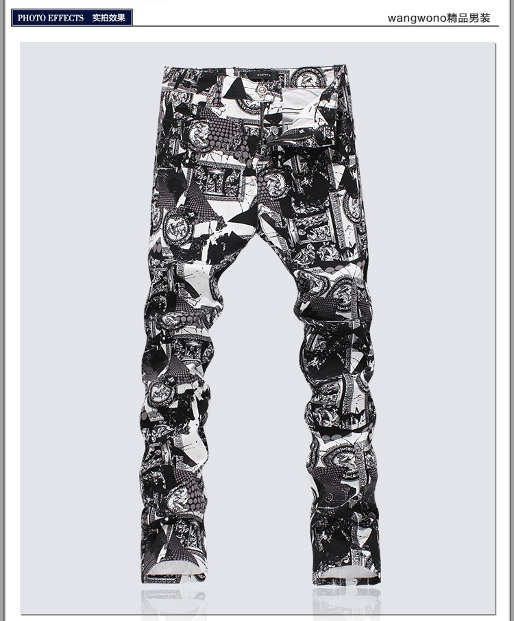 High Quality 3D Printed Jeans Men Fashion Denim Mens Jeans 2016 New Famous Brand Elastic Skinny Jeans Casual Men Clothing