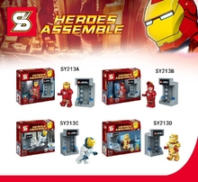 2015 New 4Pcs/lot SY213 The Avengers 2 Building Block Super heroes Assemble Brick Minifigures Iron Man Compatible With Shen Yuan(China (Mainland))