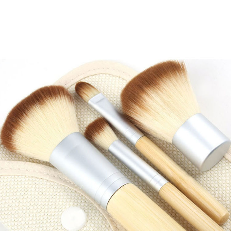 4Pcs Hot Sale Pro Makeup Brushes kit Concealer Blush Foundation Make up Brush Set Wooden Kabuki for Mac MakeUp Brush FreeShiping(China (Mainland))