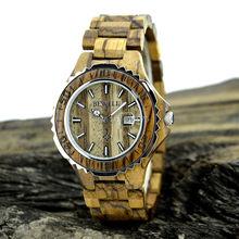 Madera reloj Relogio Masculino hombres de acero inoxidable relojes de hombre Japam Miyota 2115 calendario del reloj de madera