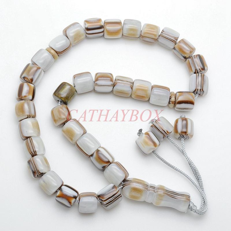 Marbled Brown Cream 33 Islamic Prayer Worry Beads Tasbih Misbaha Sibha Rosary For Muslim(China (Mainland))