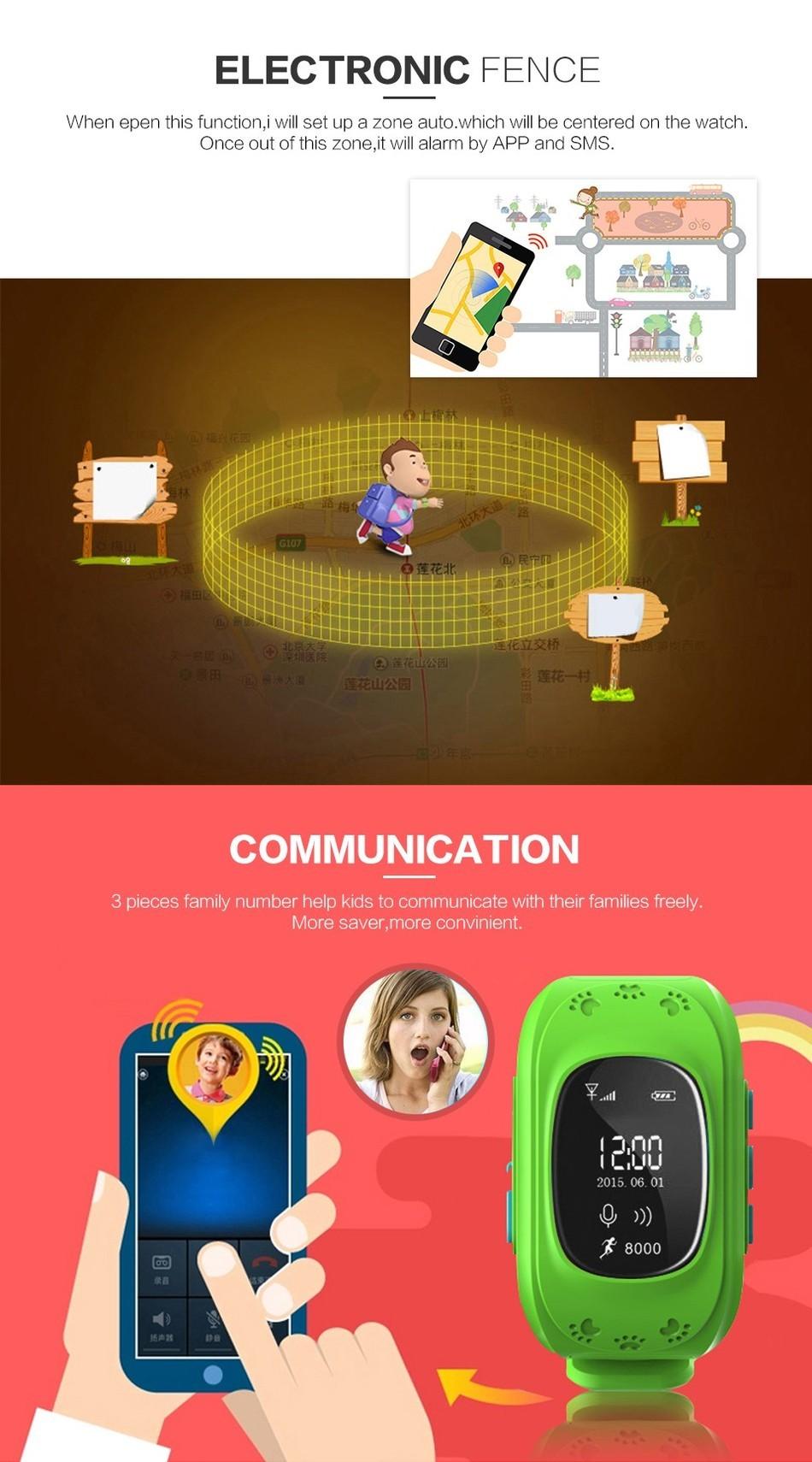 ถูก ใหม่สมาร์ทโทรศัพท์นาฬิกาเด็กเด็กนาฬิกานาฬิกาข้อมือQ50 GSM GPRSติดตามจีพีเอสป้องกันการสูญเสียS Mart W Atchเด็กยามสำหรับiOS A Ndroid