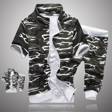 2016 Spring New Camouflage Tracksuit Men Stand Collar Short Sleeve Sports Set Sweatshirt+Pants 2PCS Causal Male Sports Suits(China (Mainland))
