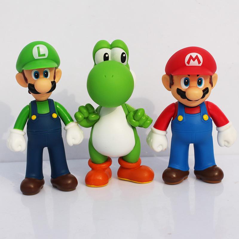 Super Mario Figure Toys 13cm Super Mario Bros Mario & Luigi & Yoshi Action Figure Toys(China (Mainland))