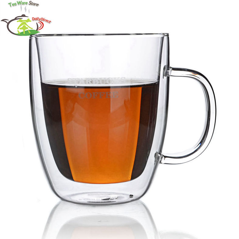 4 Pcs/lot 16fl.oz/475ml Heat-Resisting Double Wall Layer Glass Tea Wine Water Crystal Beer Drink Cups Mugs W/ Handle Classic A1(China (Mainland))